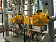 Pilot plant solenoid valves at the full scale pilot plant at CVMR® Laboratories in Toronto