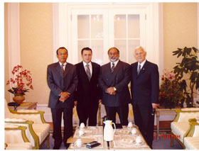 Preparing to meet with the Prime Minister of Malaysia (May 2006).  L to R: Brig. Gen (Rtd) Husainay Executive Secretary of United Malays National Organization; the Malaysian Honorary Consul to Istanbul;  Dr. Kamran M. Khozan President and C.E.O. of CVMR; Dr. Walter Curlook, ex-Vice-Chairman of Inco and Advisor to CVMR®