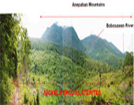 Philippines Property: View of the Anepahan mountain peaks and foothills.  The rolling foothills are underlain by thick brick red nickeliferous laterite deposits